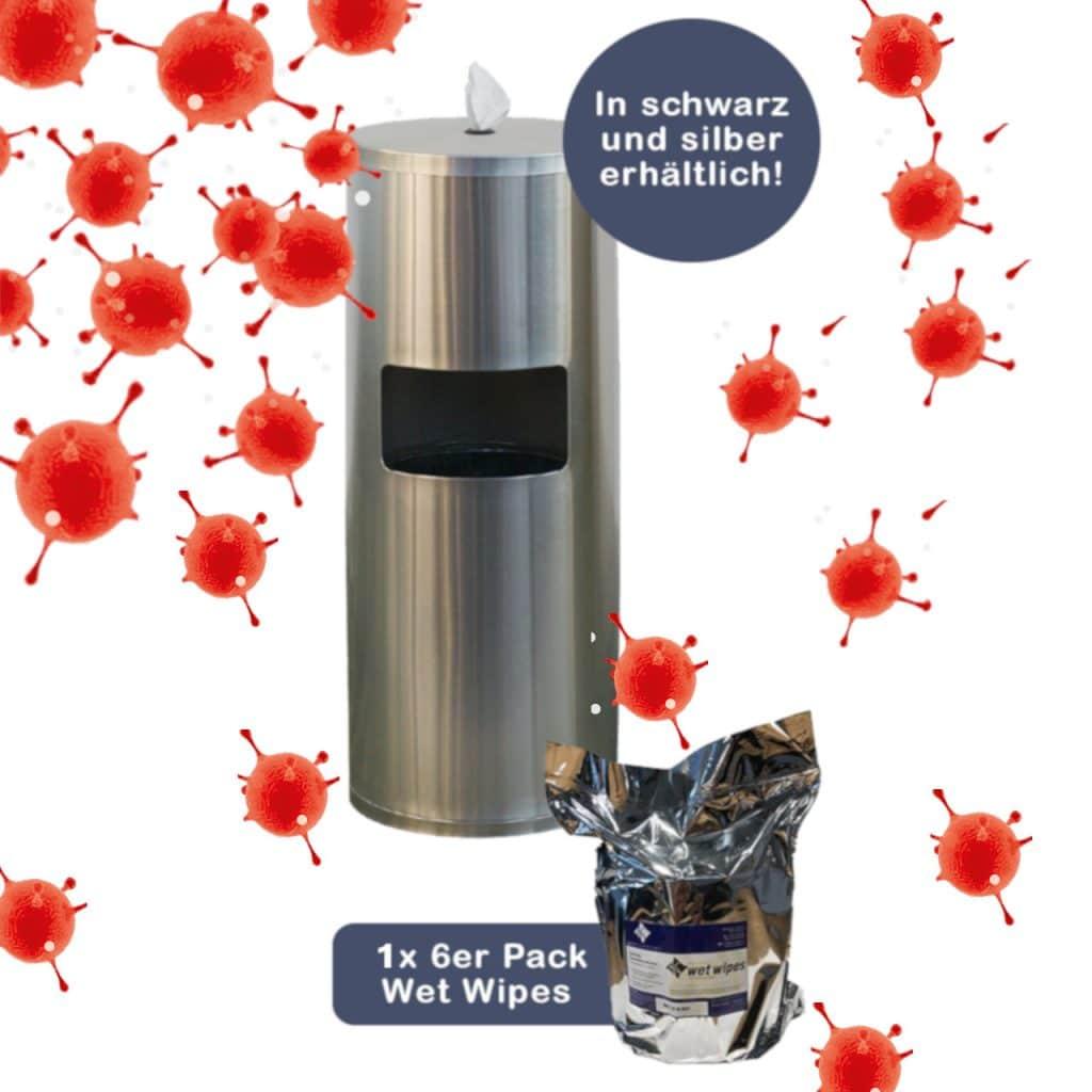 """Aktion Desinfektionsset mit Desinfektionstuechern gegen Corona Virus Covid 19 Desinfektionssäule """"CleaningStation"""" –  die ästhetisch ansprechende Desinfektionslösung für Wartebereiche in Arztpraxen"""