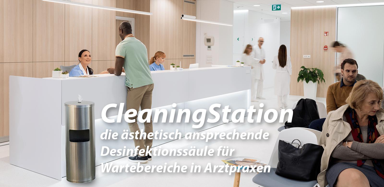 CleaningStation ästhetische Desinfektionssäule zur Handdesinfektion für Arztpraxis Wartebereich-1600